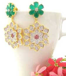 Buy Floral Golden AD Traditional Earrings stud online