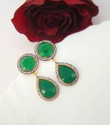 Buy Green Pearshaped Fashion Earrings stud online