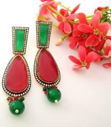 Buy Green Maroon Tearshaped Fashion Earrings stud online