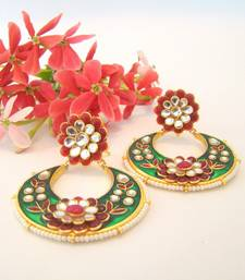 Buy Paachi Green Red Crescent Earrings stud online
