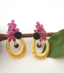 Buy Floral Black Pink Golden Fashion Earrings stud online