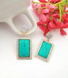Buy Turquoise Rectangular Earrings stud online