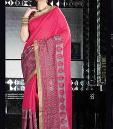 Buy Pink tussar silk thread worked saree in multi colour border & pink pallu- tussar-silk-saree online