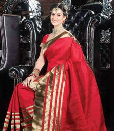 Buy Red tussar silk saree in shimmering golden border & red pallu tussar-silk-saree online