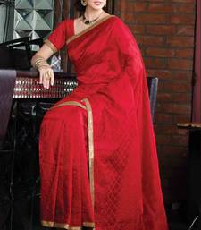 Buy Red tussar silk thread & stone worked saree in golden border & red pallu tussar-silk-saree online
