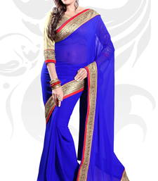 Buy Blue Faux Georgette Embroidered Saree With Blouse party-wear-saree online