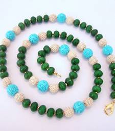 Buy Green Turquoise Multipearl Semiprecious Mala Necklace online