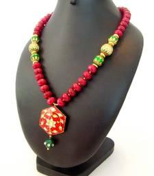 Buy Bright Maroon Meenakari Semiprecious Necklace Necklace online