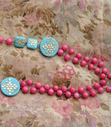 Buy Pink & Turquoise Blue Agate Necklace & Kundan side-pendants Necklace online