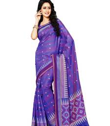 Purple and Lavender Printed Raw Silk Casual Wear Saree With Blouse