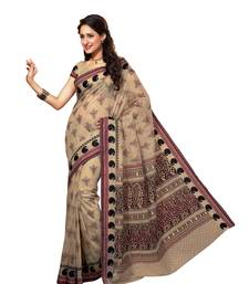 Beige and Black Printed Cotton Casual Wear Saree With Blouse