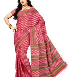 Pink and Green Printed Cotton Casual Wear Saree With Blouse