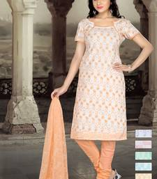 Buy PEACH EMBROIDERY COTTON UNSTITCH CHURIDAR SUIT dress-material online