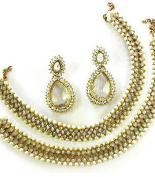 Buy White colour Anklets & Traditional Earring jewellery-combo online