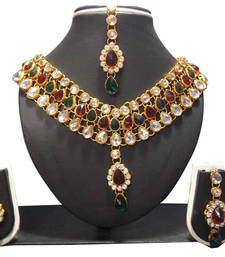 Buy Multi color stone dulhan set necklace-set online
