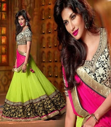 Green and Pink with Embroidery Zari work Georgette Lehenga Style Saree