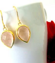 Buy Rose Quartz drop earrings danglers-drop online