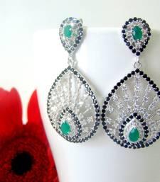 Buy Sterling Silver - Cubic Zirconia Emerald Tear Shaped stud online