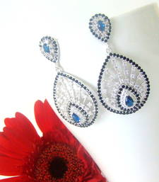 Buy Sterling Silver - Cubic Zirconia Sapphire Tear Shaped stud online