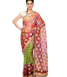 Buy Red Stone work tissue saree half saree banarasi saree with blouse tissue-saree online
