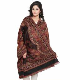 Buy Designer Big Paisley Red n Black Reversible Shawl shawl online