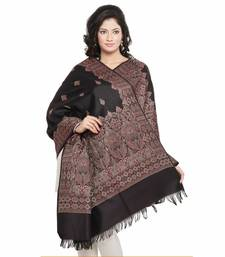 Buy Traditional Design Black Red Warm Cashmilon Shawl shawl online