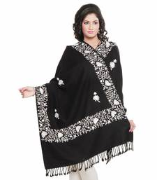 Buy White Floral Design Black Base Pure Kashmiri Shawl shawl online