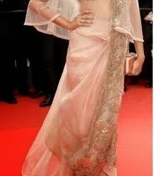 Buy Sonam Blush Pink Net Saree with Embroidery Lace border sonam-kapoor-saree online
