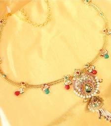 Buy Multicolor peacock zircon pearl waist belt waist-belt online