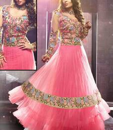 Buy Sangeeta Ghosh In Pink Net Anarkali Suit anarkali-salwar-kameez online