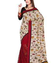 Buy Cream And Maroon Coloured Art_Silk Saree art-silk-saree online