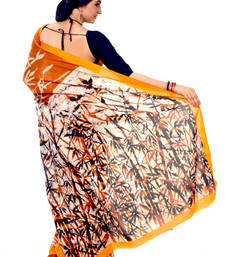 Buy Orange Yellow Handloom Cotton Casual Saree With Blouse cotton-saree online