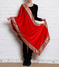 Buy Red Semi Velvet Shawl other-apparel online