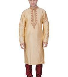 Buy Kurta with corded placket patti on the collar and front with machine emb with antique jari and contrast kurta-pajama online