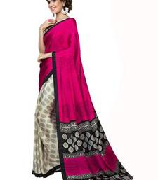 PINK printed silk traditional-sarees with blouse shop online