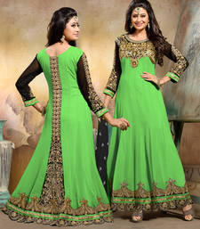 Parrot_green embroidered georgette semi_stitched salwar with dupatta shop online