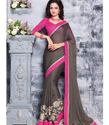 Grey embroidered Chiffon saree shop online