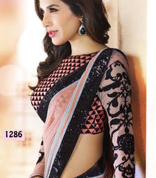 peach and gray soft padding weight less bollywood saree with blouse shop online
