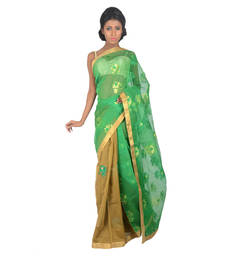 Buy BROWN - GREEN woven jute-cotton saree with blouse jute-saree online