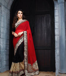 Buy Dark-Red & Black embroidered georgette saree with blouse heavy-work-saree online