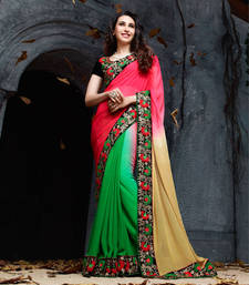 Buy Sea-green beige embroidered georgette saree with blouse heavy-work-saree online