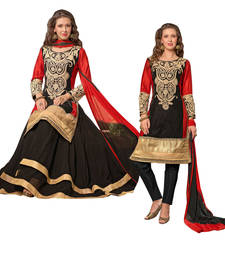 Buy Black - Red embroidered velvet semi-stitched salwar with dupatta party-wear-salwar-kameez online