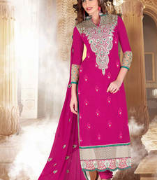 Buy Dark Pink embroidered Chanderi unstitched salwar with dupatta dress-material online