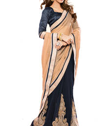 Buy Navy-blue embroidered georgette saree with blouse party-wear-saree online