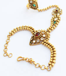 Buy Mesmerising Golden and Stone Work Haath Phool For Women bajuband online