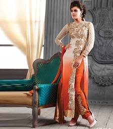 Buy ORANGE + BEIGE embroidered georgette semi-stitched salwar with dupatta party-wear-salwar-kameez online