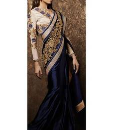 Buy Blue embroidered art-silk saree with blouse party-wear-saree online