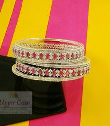 Buy Rhodium Plated Ruby CZ Zircone Bangles Kada Set bangles-and-bracelet online