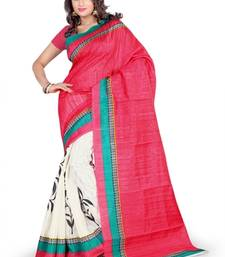 Buy RED PRINTED bhagalpuri-silk saree with blouse shimmer-saree online