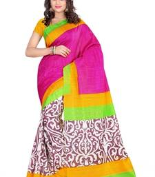 Buy PINK PRINTED bhagalpuri-silk saree with blouse shimmer-saree online